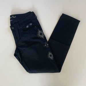 American Eagle Skinny Jeans 8 Black Embroidered